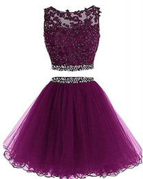 black two piece prom dresses Coupons - 2019 Two Pieces Prom Dress Short Lace Appliques with Crystal Beaded Keyhole Back Tulle Sweet 16 Party Dresses Graduation Homecoming Gowns