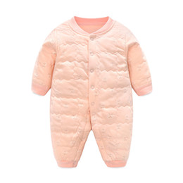 Wholesale Serving Pieces - kids clothes One-piece garment unisex Baby Ha. Long Sleeve Lattice Children Lin Tai Climb Clothes European Fashion Children Full Moon Serve