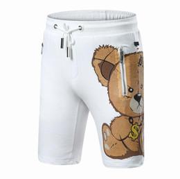 Wholesale Drawstring Skinny Pants - Summer shorts Bear printed shorts men luxury brand designer diamond mens short pants ring skull dollar funny panada mens shorts cotton PP30