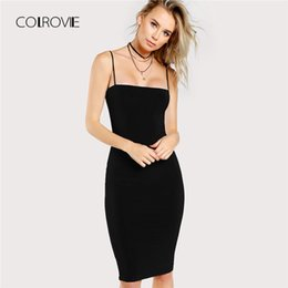 4f5a8115f Al por mayor vestidos ajustados hasta la rodilla negros en venta - COLROVIE  Vestido Ajustado Cami