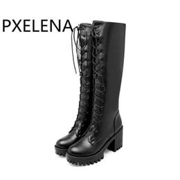 PXELENA Retro Platz Chunky Block High Heels Reiten Ritter Stiefel Frauen Schuhe Schnüren Punk Street Gothic Kniehohe Stiefel Lady New