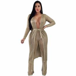 Xl vestidos de malha on-line-Mulheres sexy outono dress festa de tricô manga longa robe femme bow sashes cardigan oco longo maxi dress