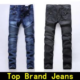 Wholesale Men S Denim Jeans - Mens jeans Distressed Robin Motorcycle biker jeans Rock revival Skinny Slim Ripped hole Men's Famous Brand Denim pants Men Designer jeans