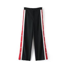 Wholesale wide leg corduroys - 2018 Women High Waist Cut Off Rivet Button Split Side Pants Fashion Black Patchwork Red White Wide Leg Pants Casual Pants