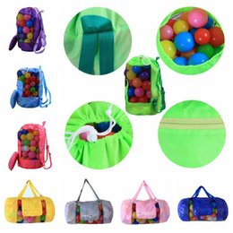 Wholesale beach decorative - 16 Colors 24*48cm Kids Beach Toys Receive Bag Folding Mesh Sandboxes Away All Sand Storage Shell Net Sand Away Beach Bag CCA9513 50pcs