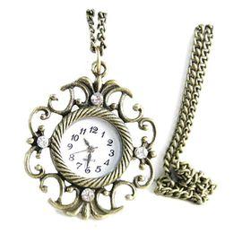Wholesale Fan Sweaters - Antique Copper Fan Sweater Diamond Helmet Shape Hollow Quartz Watch Pocket Watch Necklace Pendant Clock Chain Men Women Relogio