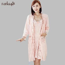 Wholesale- Fdfklak Women Robe Gown Set Faux Silk Robe Femme Satin Sleepwear  Home Suit Night Sleep 2 Pieces Bathrobe Plus Size XL-XXL E0906 f8be517c2cc9