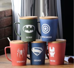 Wholesale heroes theme - Super Hero Avengers Justice League Theme Milk  Coffee Mugs With Cover And Spoon Pure Color Mugs Cup Kitchen Tool Gift