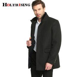 Мужская куртка из черной шерсти онлайн- Men Jacket Woolen Men's fur Collar coat Warm Wool mens jackets and coats Black Coat 4 Style