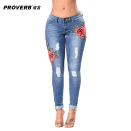 Wholesale Embroidery Jeans Pants - PROVERB Woman's Denim Pencil Pants Sexy Embroidery Brand Stretch Jeans Ladies High Waist Jeans Femme Trousers