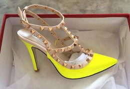 Discount sexy rivet sandals - 2018 Brand Women Pumps Wedding Shoes Woman High Heels sandal Nude Fashion Ankle Straps Rivets Shoes Sexy High Heels Bridal Shoes Size 34-43