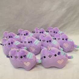 Wholesale Mobile Plush - Super Soft Stuffed Plush Doll Easy To Carry Pusheen Pendant Purple Mini Cat Shaped Mobile Phone Ornament Portable 5px B