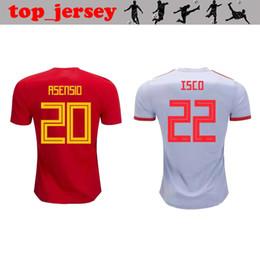 Тайский футбольный трикотаж онлайн-Чемпионат мира по футболу 2018 года Испания дома футболисты футболка Джерси тайского качества