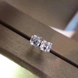 Wholesale Diamond Square Stud Earring - 2018 Luxury quality Famous Brand S925 Silver Stud with Square dimond Fashion brand Earrings jewelery for women wedding gifts BV PS6643