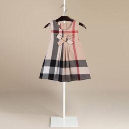 Wholesale New Agents - 2018 Summer New Product Fashion Bow Sleeveless Pure Cotton Lattice Skirt Girl Dress Princess Skirt Agent