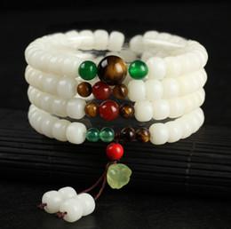 Homens jade pulseira on-line-Novo Design Natural 108 Branco Jade Bodhi Raiz Beads Pulseira de Jade Lotus Charme Pingente Cordas Mão Das Mulheres Dos Homens de Jóias Por Atacado