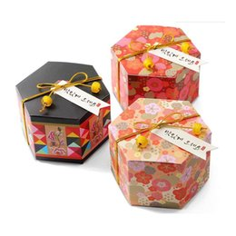 Wholesale Cherry Blossom Papers - Hexagon Plum Blossom Cherry Flower Pattern Paper Candy Box Wedding Favor And Gift Party Decoration ZA6183