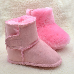 Wholesale Thick Fur Boots - 2017very Thick Baby Kids Boots First Walkers Winter Artificial Fur Toddler Shoes Soft Sole Infant Baby Boy Girls Shoes Phanindra
