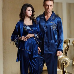 Hommes sexy en soie bleue en Ligne-XIFENNI Marque Couple Pyjamas Hommes Femmes Sexy Satin De Soie Pyjama Pantalon Ensembles Bleu À Manches Longues Pyjama Lounge Ensembles Amoureux Vêtements De Nuit