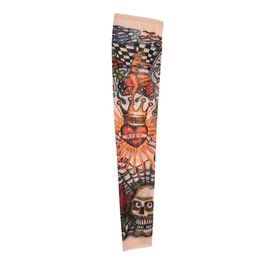Wholesale tattoo arm sleeves skulls - Skull Crown Stretchy Temporary Tattoo Arm Sleeve Stocking for Child