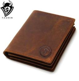 Bolsos de cuero hechos a mano online-Vintage Crazy Horse Handmade Leather Men Wallet Multi-Functional Cowhide Monedero Cartera de cuero genuino para hombres