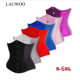 Wholesale lace tops xl - Lauwoo Sexy Gothic Basque Black Satin Corset Lace Up Boned Top Underbust Bustier Red White Pink Blue Corsets Espartilho Korsett