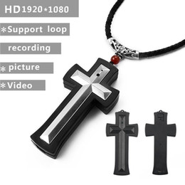 Wholesale digital video recorder camcorder - Cross Necklace Mini DV Camcorder HD 1080P Cross pendant pocket Camera digital voice Video Recorder DVR Outdoor Sport Action Camera