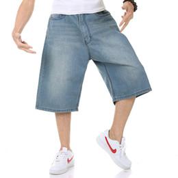 Hip hop baggy jeans kurz online-Sommer Neue Herren Shorts Hip Hop Harem Denim Jeans Boardshorts Mode Lose Baggy Cotton Shorts Große Größe 30-46 männer jeans