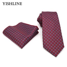 Wholesale 8cm ties dotted - GLS033 New Fashion Wine Red Polka Dot 8CM Tie Set 100% Silk Jacquard Men Necktie Hanky Set Pocket Square Mens Tie for Wedding