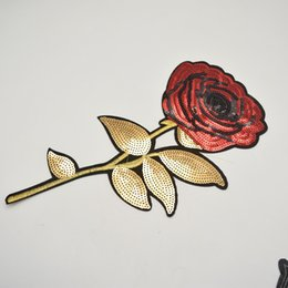 Wholesale Iron Appliques Flowers - 10pcs 13'' Fashion Gold and red Sequins Embroidered Rose Flower Patch iron on Applique Sew Dress DIY