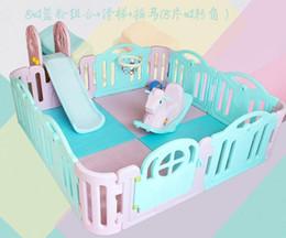 2019 diapositivas de plástico para niños Baby Playpens Activity Gear Mother Kids barra protectora de plástico 14 piezas + portaobjetos + cockhorse + rack de almacenamiento CE diapositivas de plástico para niños baratos