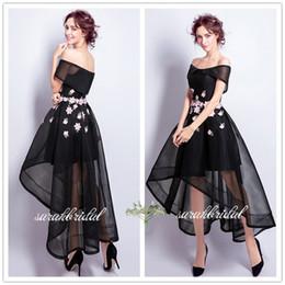 Wholesale News Caps - 2018 news little black dress A-line Tulle pink flowers elegant Prom Dresses off shoulder Hi-Lo Formal Evening Dress custom made Pageant Wear