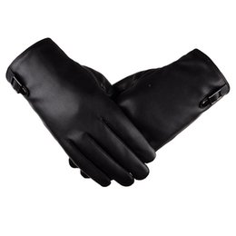 Wholesale mens black leather gloves - 2017 New Style High Quality Winter Mens Gloves Fashion Classic PU Leather Touched Screen Simple Thick Warm For Man