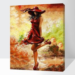 Wholesale Oil Painting Canvas Body - DIY oil painting by numbers canvas picture adult coloring paint body acrylic painting calligraphy by number wall decor girl