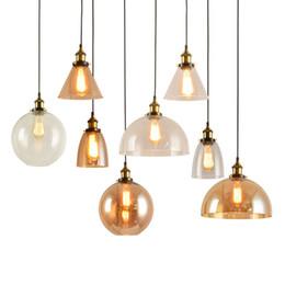 Appareils électroménagers en gros pour ampoules edison en Ligne-Luminaire moderne en gros Vintage Pendant Lights américain en verre ambre E27 Edison ampoule