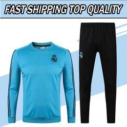 Wholesale Football Collar - 17 18 blue madrid Soccer Tracksuit Adult's Round Collar Football Training Suit Men's Full Sleeve Soccer Survetements