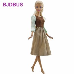 Wholesale fairy tales jewelry - Handmade Fairy Tale Dress Copy Cinderella Maid Skirt Daily Wear Long Sleeves Gown Clothes For Barbie Doll Accessories Kids Gifts