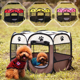 Wholesale Pet Dog Fence - Portable Folding Travel Dog House Pet Tent Mesh Oxford Waterproof Cat Cage Puppy Kennel Octagonal Fence Outdoor Playpen Supplies OOA4617