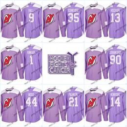 77f20b5ad Womens 30 Martin Brodeur Purple Fights Cancer Practice New Jersey Devils 9  Taylor Hall 13 Nico Hischier 35 Cory Schneider Hockey Jerseys