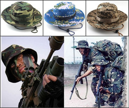 Wholesale Mens Cowboy Beach Hat - Designer Foldable Cotton Boonie Hat Sport Camouflage Jungle Military Cap Adults Mens Womens Cowboy Hats For Fishing Packable Army Bucket Hat