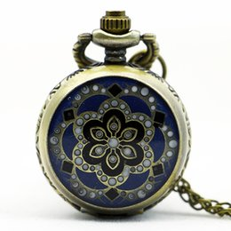 Wholesale Vintage Jewelry Watches - PS567 Vintage Jewelry New Colorful Enamel Rhinestone Movt Flower Pattern Pocket Watch Small Size