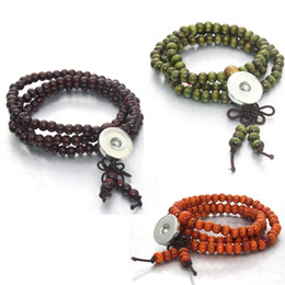 Wholesale Chinese Jewellery - 4 colors Chinese knot snap jewellery snap buttons 18mm snaps Retro 8mm Wooden Beads bracelet women