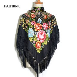 floral cotton square scarf Coupons - [FAITHINK] Fashion Women Tassel Classic Scarf Floral Printed Russian Shawl Gift Cotton Lady Warm Square Wrap Sunshade Scarves