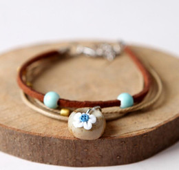 Pulseira cerâmica jingdezhen on-line-Qingge jingdezhen original pequeno fresco doce pulseira sen menina han versão de irmãs melhores amigo da menina de cerâmica acessórios