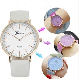 2019 ver cambios de color Geneva Thermochromic Relojes Cambio de temperatura Reloj de color Reloj de cuero de moda Simple Unisex Casual Cuarzo reloj de pulsera CCA9483 150pcs rebajas ver cambios de color