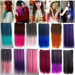 Wholesale Gradient Hair Extensions - Sexy Hairpiece Clip Hair Extensions Fashion Synthetic Hair Style Gradient Colour