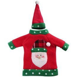 Wholesale Home Office Products - Ourwarm New Year Decoration Red Wine Bottle Cover Office Ugly Sweater Party Products Gifts Home Xmas Party Decor Supplies AEI-233