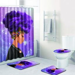 Drop Shipping Africaine Femme Polyester Rideau De Douche Ensemble Non Glissement Tapis Tapis pour Salle De Bains Toilette Flanelle Tapis De Bain Ensemble 4pcs ? partir de fabricateur