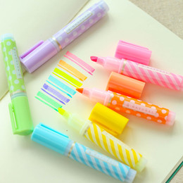 Wholesale Mini Chalk - Y18 Set of 6 Cute Mini Dots Striped Highlighter Paint Marker Pen Drawing Liquid Chalk Stationery School Office Supply Kids Gift