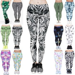Wholesale Army Style Pants Women - Women Leggings 12 Styles Lucky Leaf 3D Graphic Print Girls Skinny Stretchy Yoga Wear Pants Lady Gym Fitness Pencil Fit Trousers (JL002)